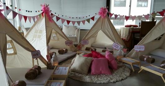 cabanas para festa de pijama cor crua