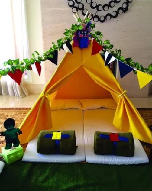 cabanas para festa de pijama amarela