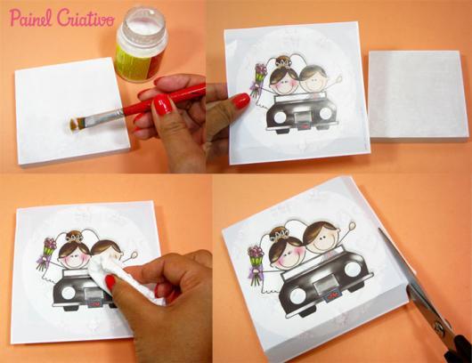 Como Fazer Lembrancinhas de Casamento arte para tampa de MDF
