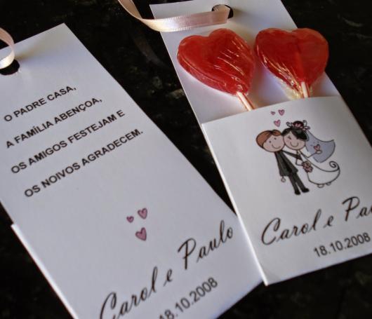 Como Fazer Lembrancinhas de Casamento pirulito de coração