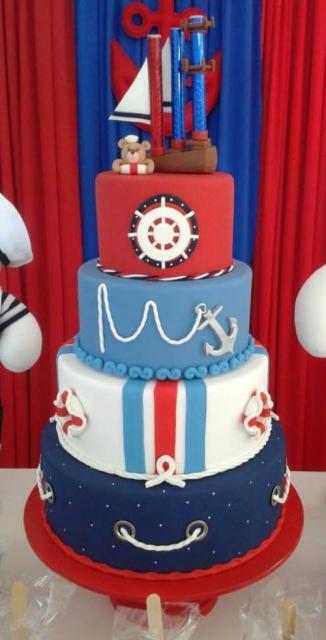 Como fazer um bolo fake: bolo fake de biscuit com tema Marinheiro