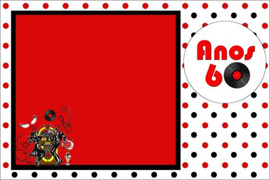 Fotos e Ideias de Convite Anos 60 cartão vermelho e branco