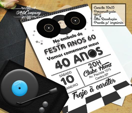 Fotos e Ideias de Convite Anos 60 cartão preto e branco com detalhe de vinil