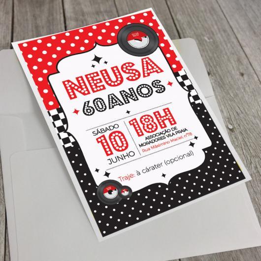 Fotos e Ideias de Convite Anos 60 modelo cartão preto, vermelho e branco