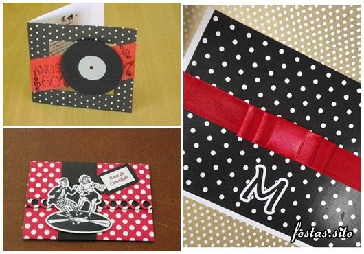 Fotos e Ideias de Convite Anos 60 estampa de poá preto, branco e vermelho