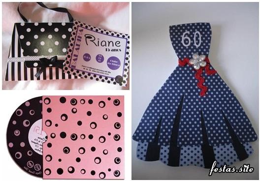 Fotos e Ideias de Convite Anos 60 modelo de vestido, bolsa e dico de vinil
