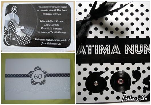 Fotos e Ideias de Convite Anos 60 modelos preto e branco