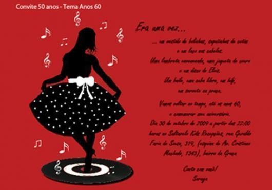 Fotos e Ideias de Convite Anos 60 modelo cartão vermelho com detalhe de silhueta feminina com vestido de poá