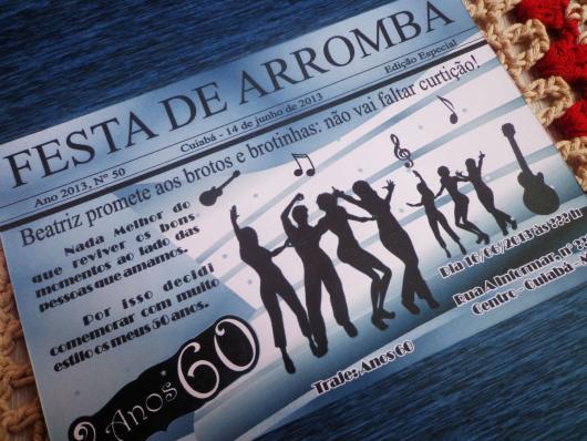 Fotos e Ideias de Convite Anos 60 modelo cartão azul com notas musicais