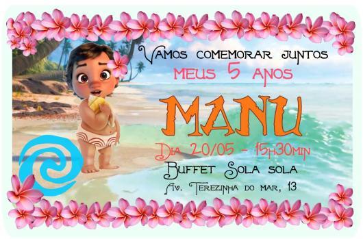 Convite Moana baby Moana na beira do mar e informações da festa sobre a água