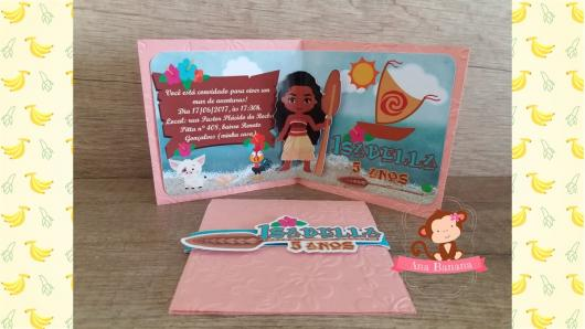 Convite Moana pop up rosa com aplique 3D