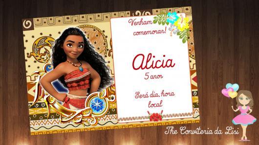 Convite Moana cartão com design indígena