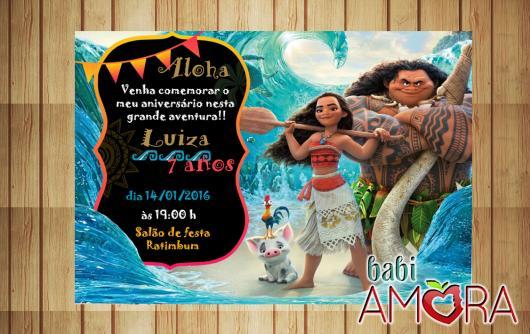 Convite Moana cartão com detalhe chalkboard