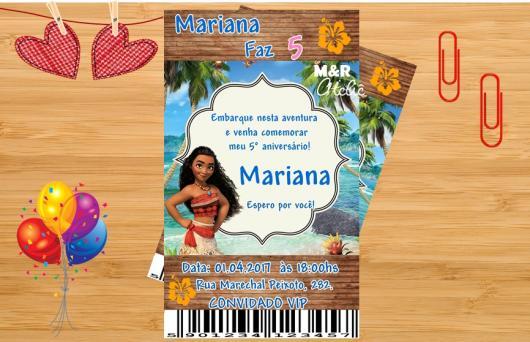 Convite Moana modelo ingresso com balão informtivo