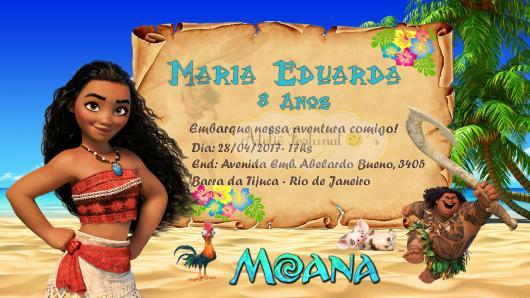 Convite Moana modelo cartão com detalhe de pergaminho