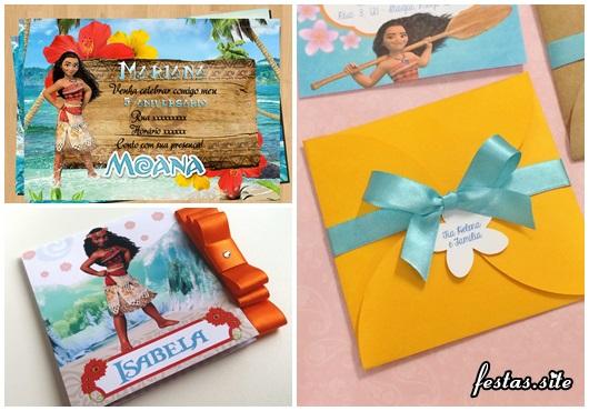 Convite Moana modelos cartão e scrap decorados com laço de fita