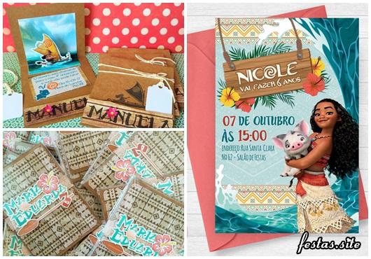 Convite Moana modelos cartão com envelope e scrap no papel craft