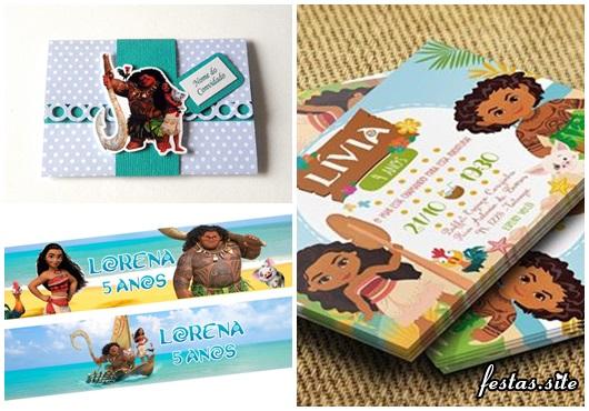 Convite Moana modelos cartão e scrap com detalhe de arabesco