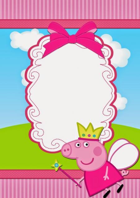 convite Peppa Pig moldura pronta