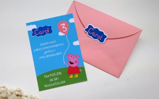 convite Peppa Pig rosa