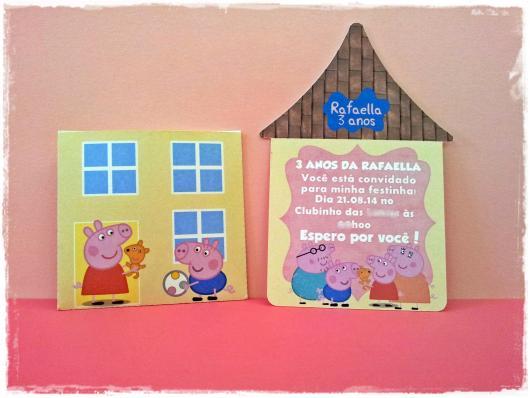convite Peppa Pig casinha