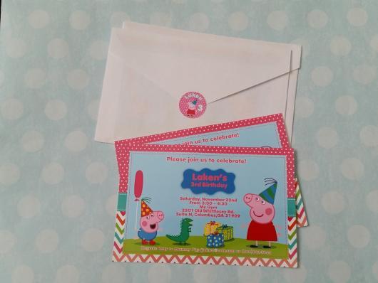 convite Peppa Pig com envelope simples