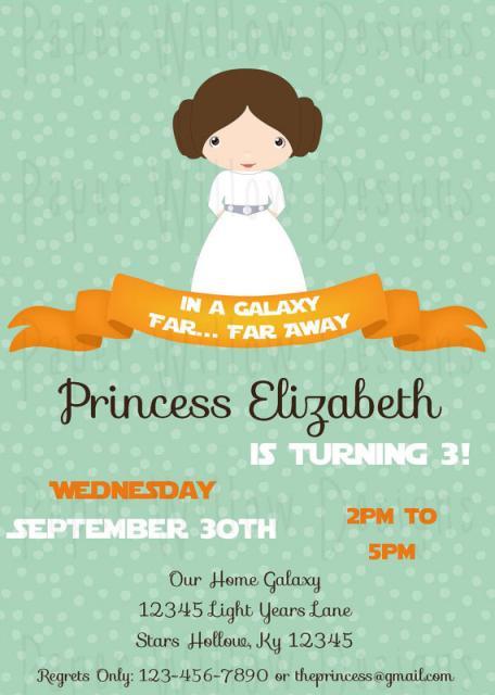 convite star wars pronto princesa leia