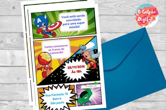 Convite Vingadores baseado em História em Quadrinhos