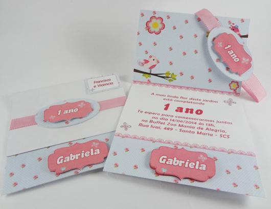 Convites Jardim Encantado scrap rosa e azul
