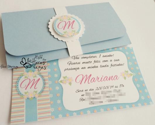 Convites Jardim Encantado scrap com envelope azul