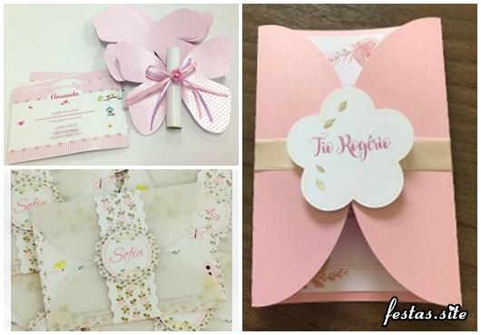 Convites Jardim Encantado modelos rosa
