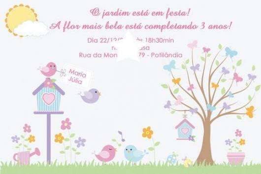 Convites Jardim Encantado provençal em tons pastel