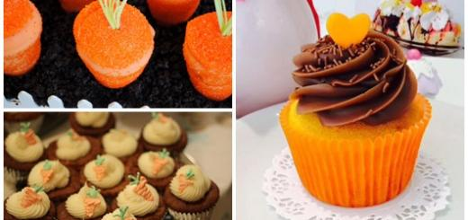 Cupcake de Cenoura com formato de cenoura