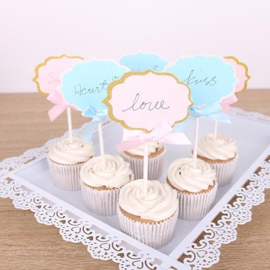 Cupcake para Casamento com topper com frase