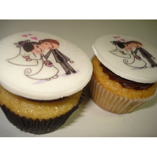Cupcake para Casamento com papel de arroz