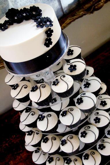 Cupcake para Casamento preto e branco