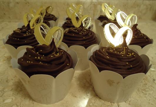 Cupcake para Casamento com decoração de ganache