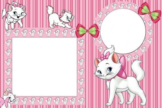 Decoração da Gatinha Marie convite cartão com espaço para foto