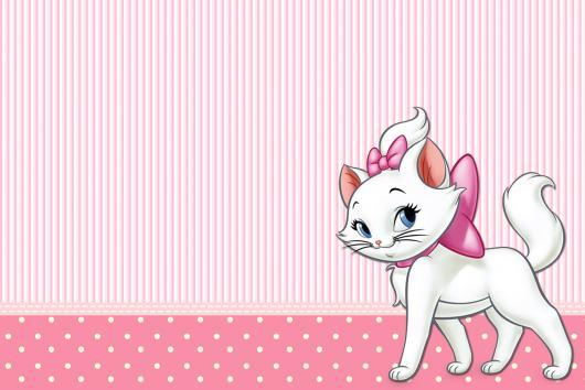 Decoração da Gatinha Marie convite cartão