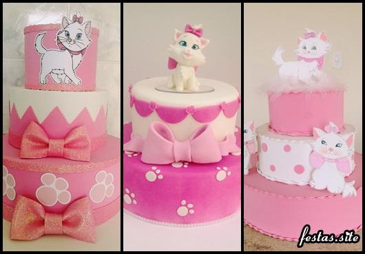Decoração da Gatinha Marie modelos de bolo fake