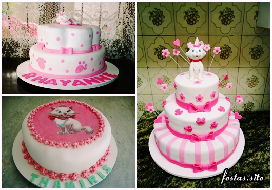 Decoração da Gatinha Marie modelos de bolo decorado com pasta rosa e branca