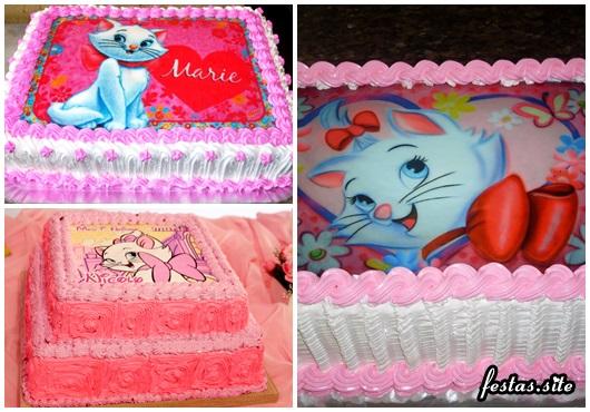 Decoração da Gatinha Marie modelos de bolo decorado com chantilly