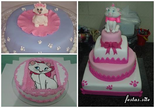 Decoração da Gatinha Marie modelos de bolo com pasta americana