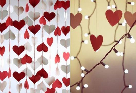 Decoração Dia dos Namorados de papel cortina de corações