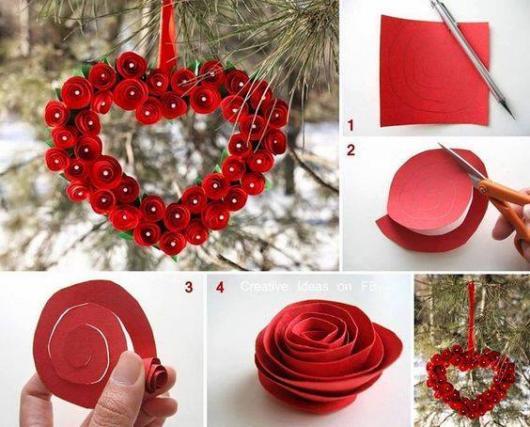 Decoração Dia dos Namorados de papel guirlanda de rosas