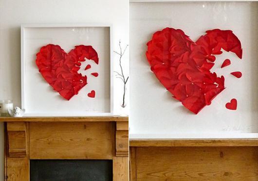 Decoração Dia dos Namorados de papel quadro com coração