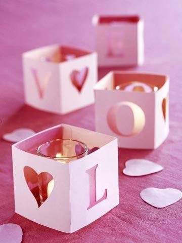 Decoração Dia dos Namorados de papel luminária de vela