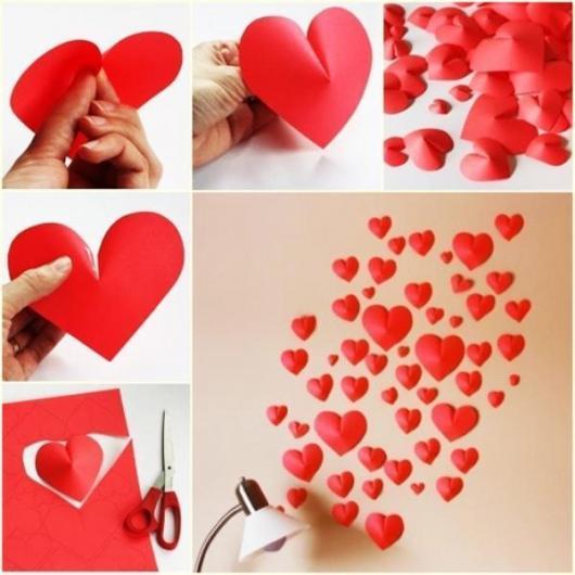 Decoração Dia dos Namorados simples aplique de coração
