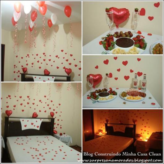 Decoração Dia dos Namorados simples cama com pétalas