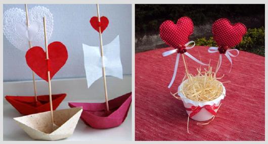 Decoração Dia dos Namorados simples centro de mesa de coração